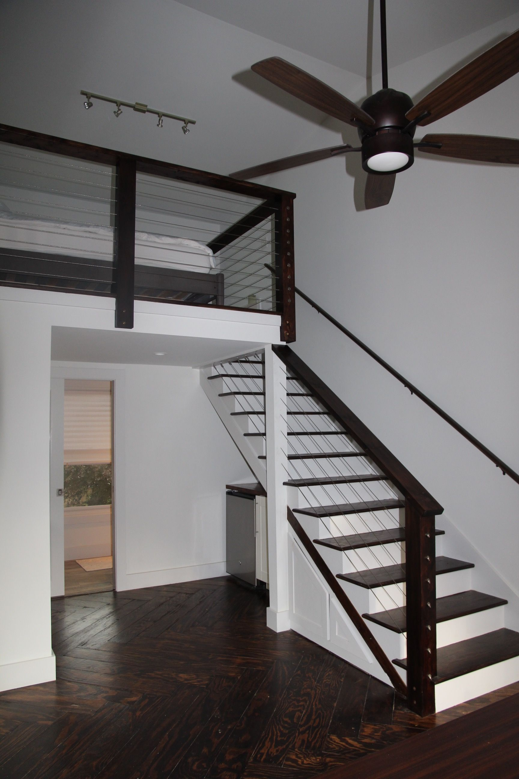 Stairs with cable rail up to loft | Stairs, Tiny house