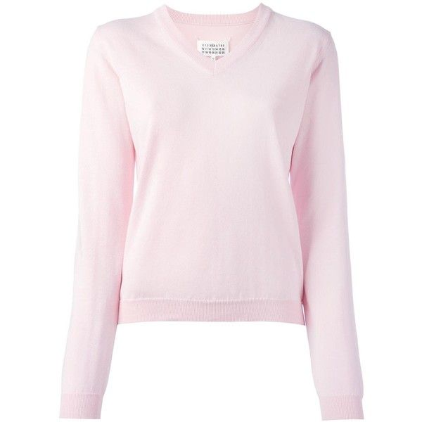 Maison Margiela Elbow Patch V Neck Jumper 400 Liked On Polyvore Featuring Tops Sweaters Cotto Long Sleeve Jumper Elbow Patch Sweater Light Pink Sweaters