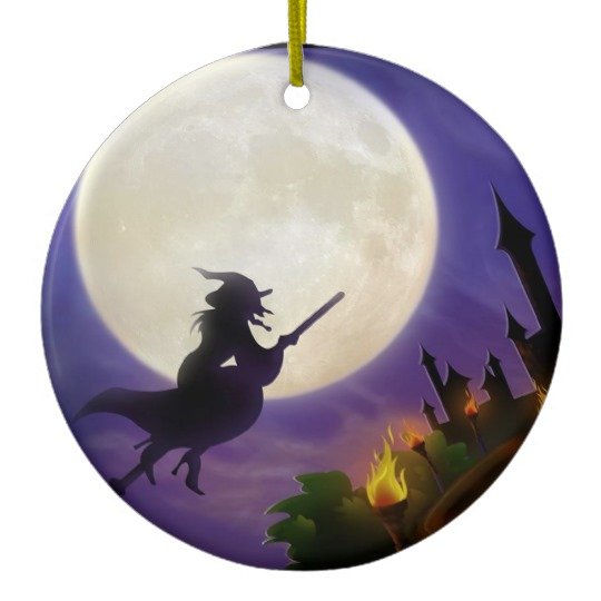 Halloween Witch Full Moon Ceramic Ornament Zazzle Com Halloween Witch Decorations Halloween Ornaments Halloween Witch