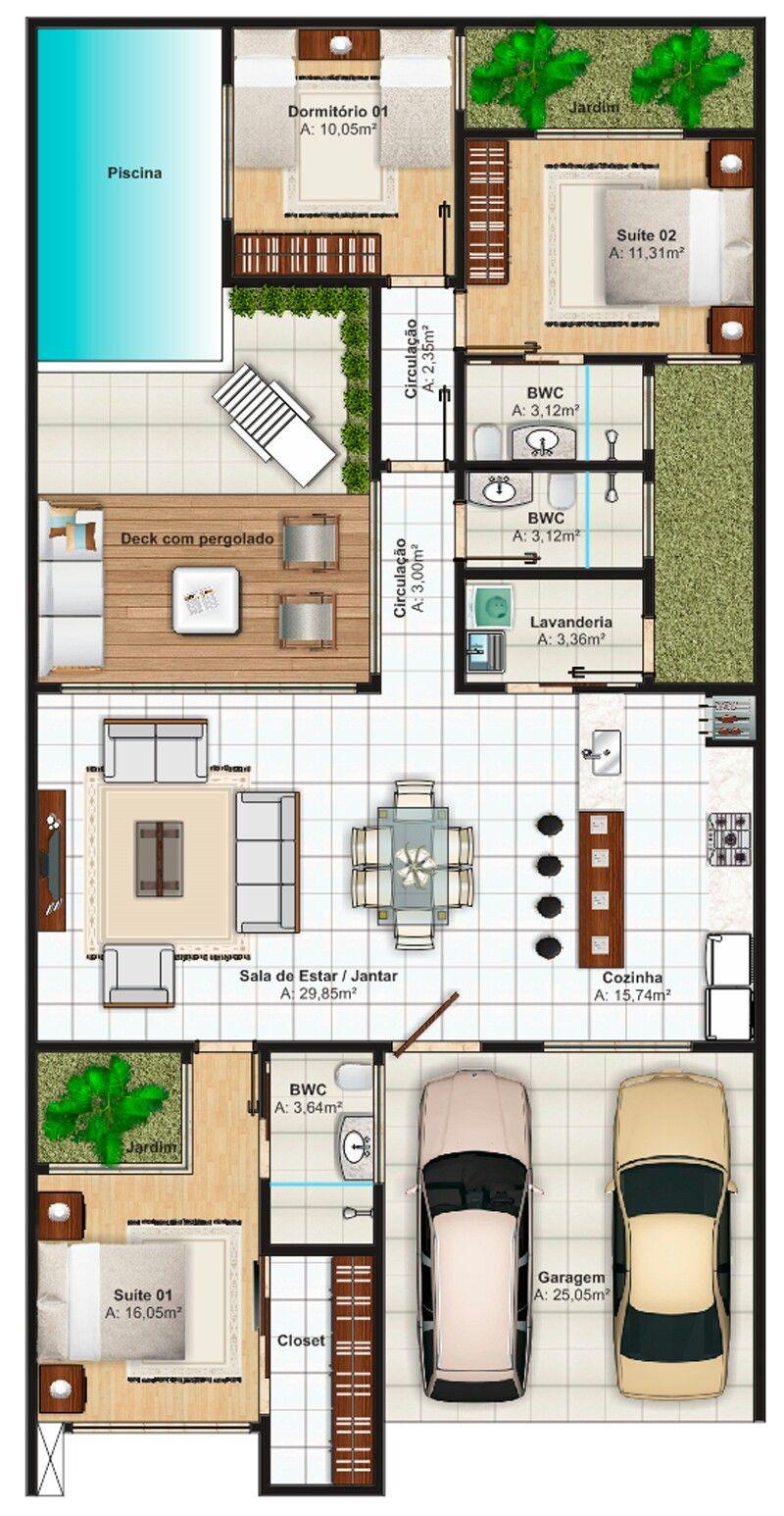 Pinterest claudiagabg casa 3 cuartos piscina rennee for Planos de albercas