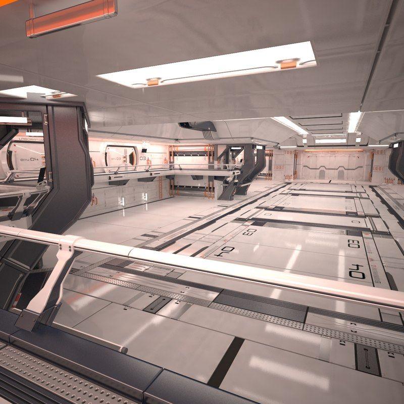 3d sci fi hangar interior scene model   Y in 2019   Futuristic