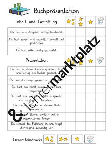 Buchpräsentation Bewertungsraster Unterrichtsmaterial in