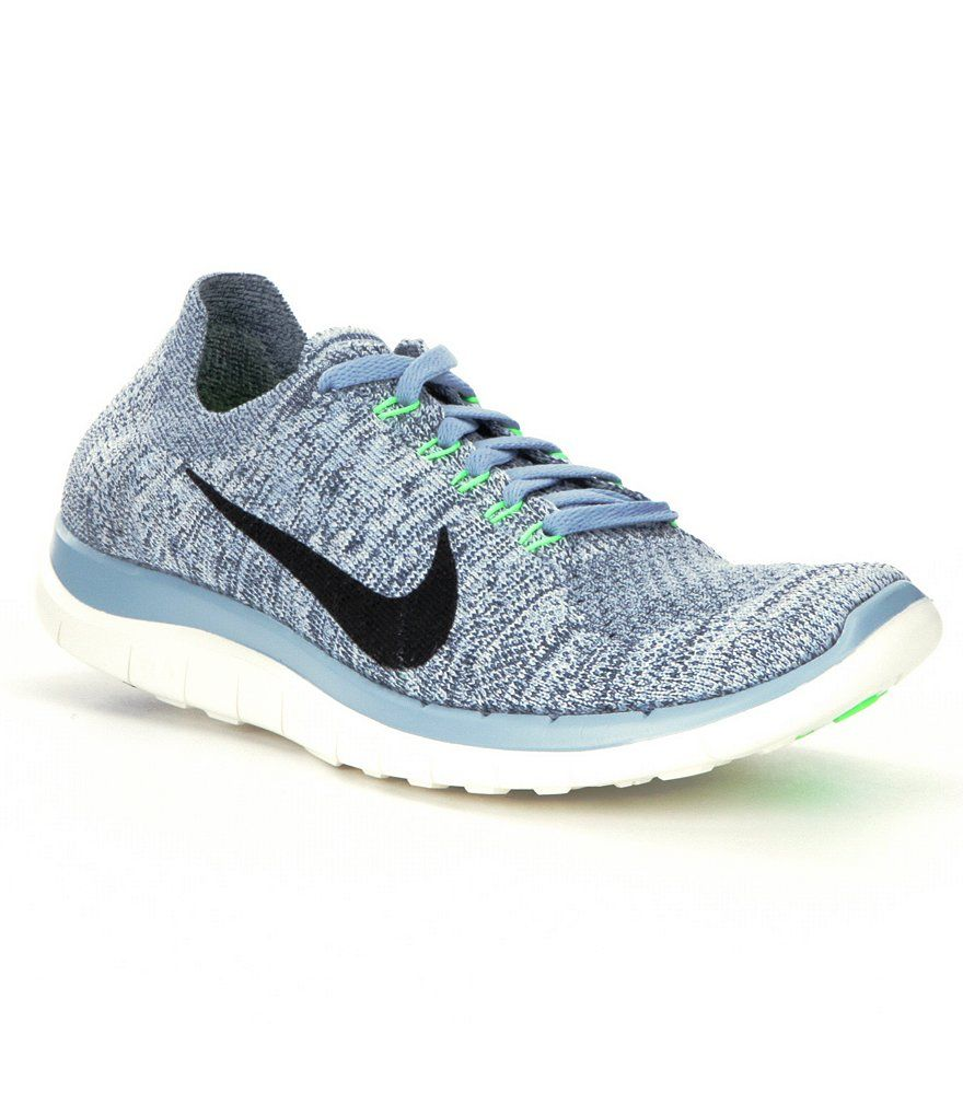los angeles 2d4c6 fd2c4 Blue Grey Black Sail Voltage Green Nike Free 4.0 Flyknit Running Shoes