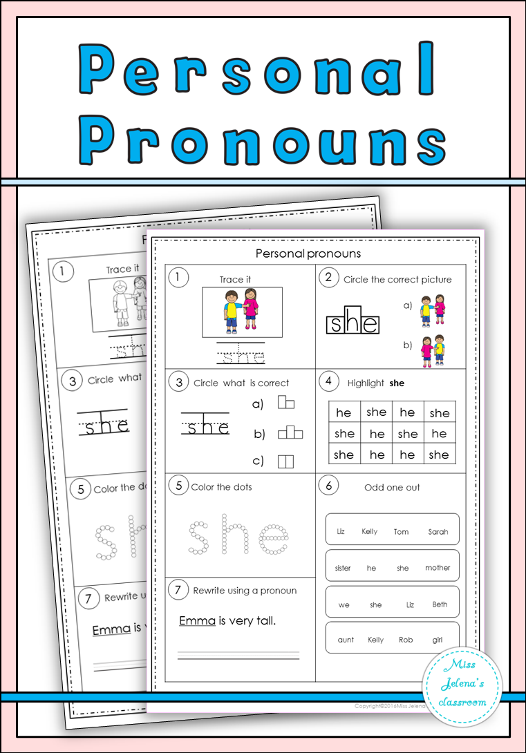 personal pronouns set worksheets sentences and activities. Black Bedroom Furniture Sets. Home Design Ideas