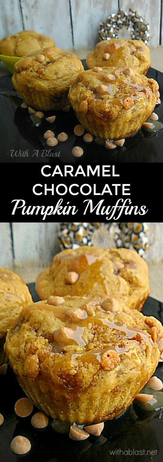 Deliciously moist, packed with Pumpkin and Chocolate Chips with a Caramel drizzle ~ perfect for breakfast, tea time, a snack or for the lunchbox #Pumpkin #Treats #Muffins #pumpkinmuffins