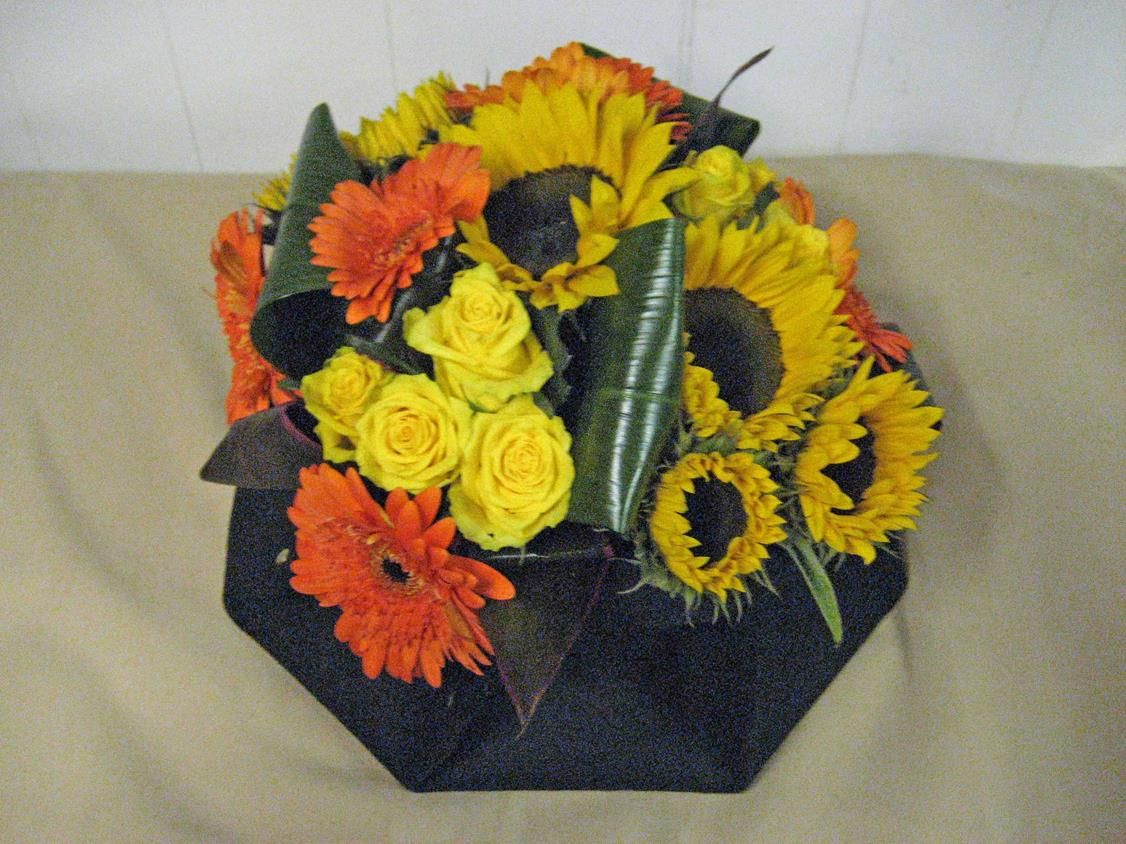 56MT Sunflowers, Orange Gerbera, Yellow Roses