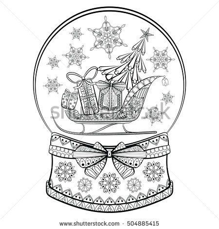 Christmas Snow Globes Coloring Pages Hand Drawn Snow Globe With Sledge Christmas Tree And Gift Boxes Globe Drawing Coloring Pages Christmas Coloring Sheets