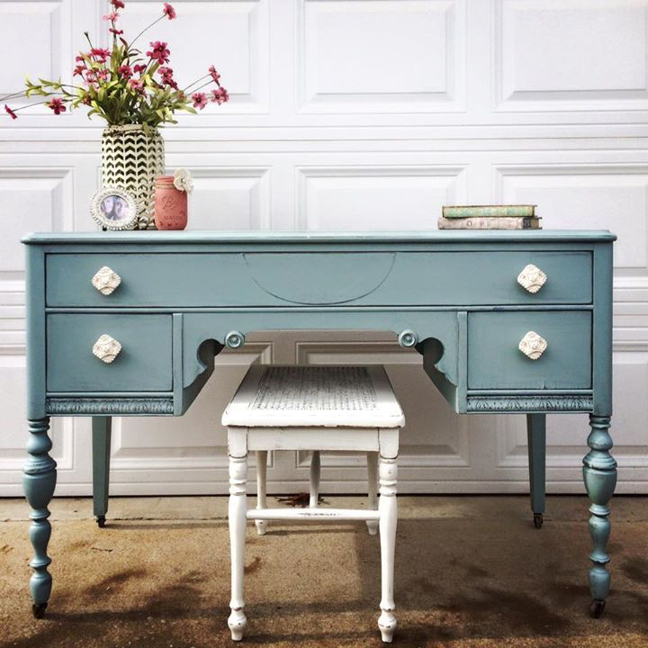 sweetheart desk in persian blue and antique white milk on desk color ideas id=26272