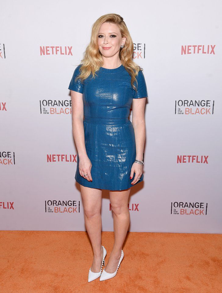 Pin for Later: The OITNB Inmates Got Fancy at Last Night's Orangecon Natasha Lyonne It was simple yet statement making for Natasha, who wore a blue leather dress and some spiky white pumps.