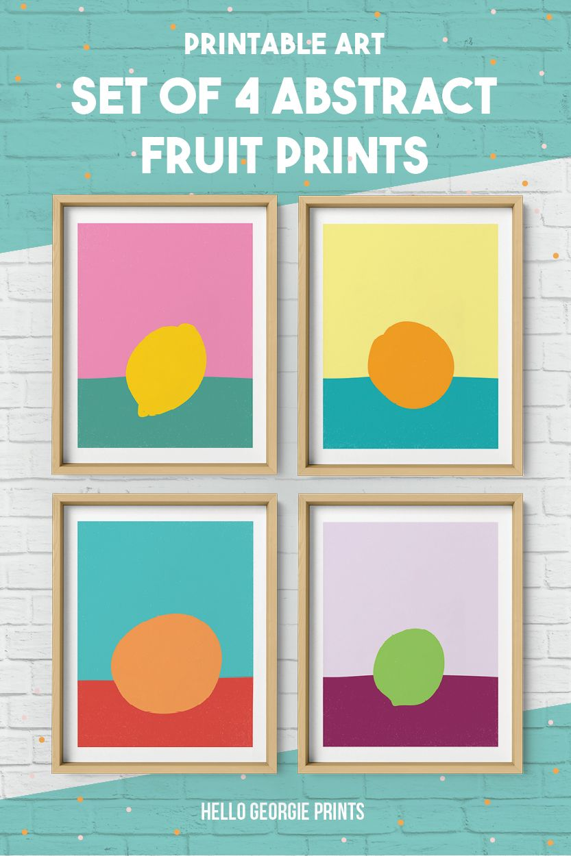 Abstract Fruit Art, Printable Kitchen Art, Set of 4 Prints, Citrus ...