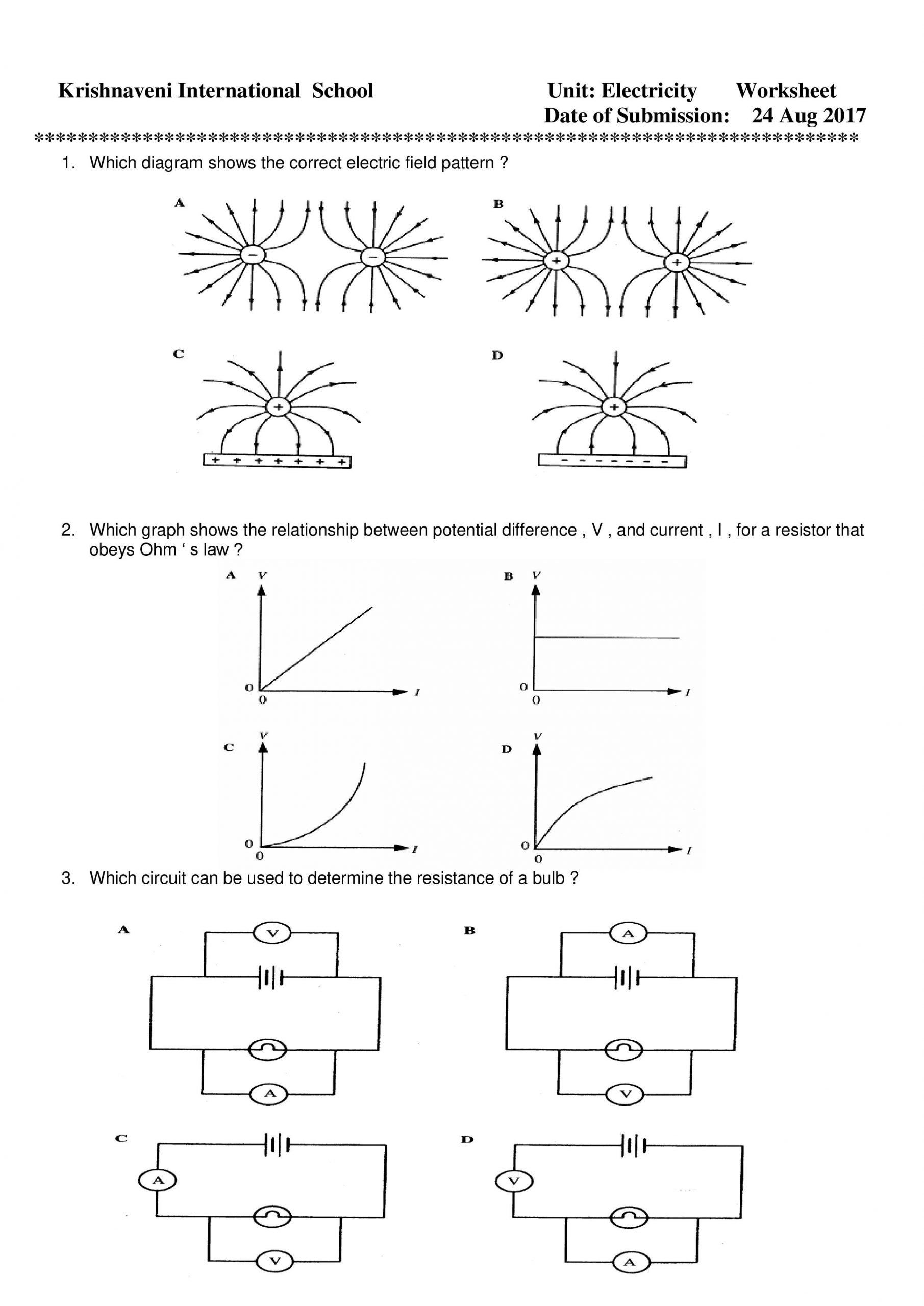 Electricity Worksheets For Middle School 5a02 Circuit