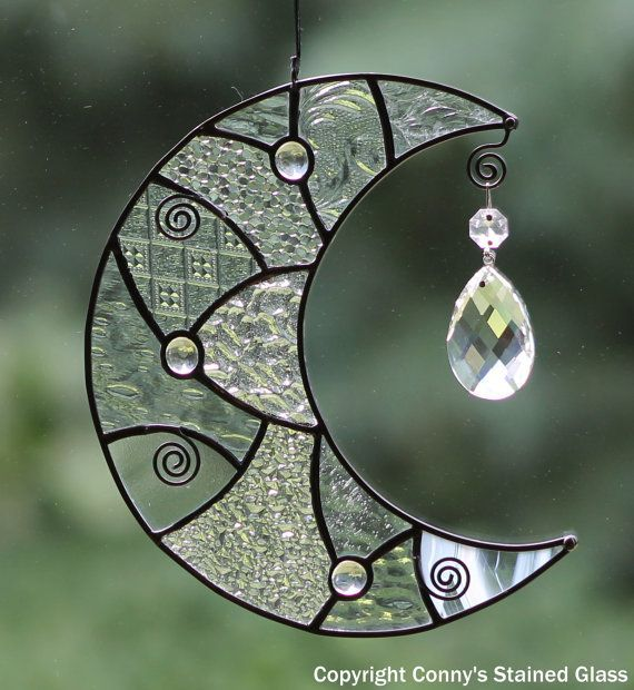 Patchwork Moon Stained Glass Suncatcher By