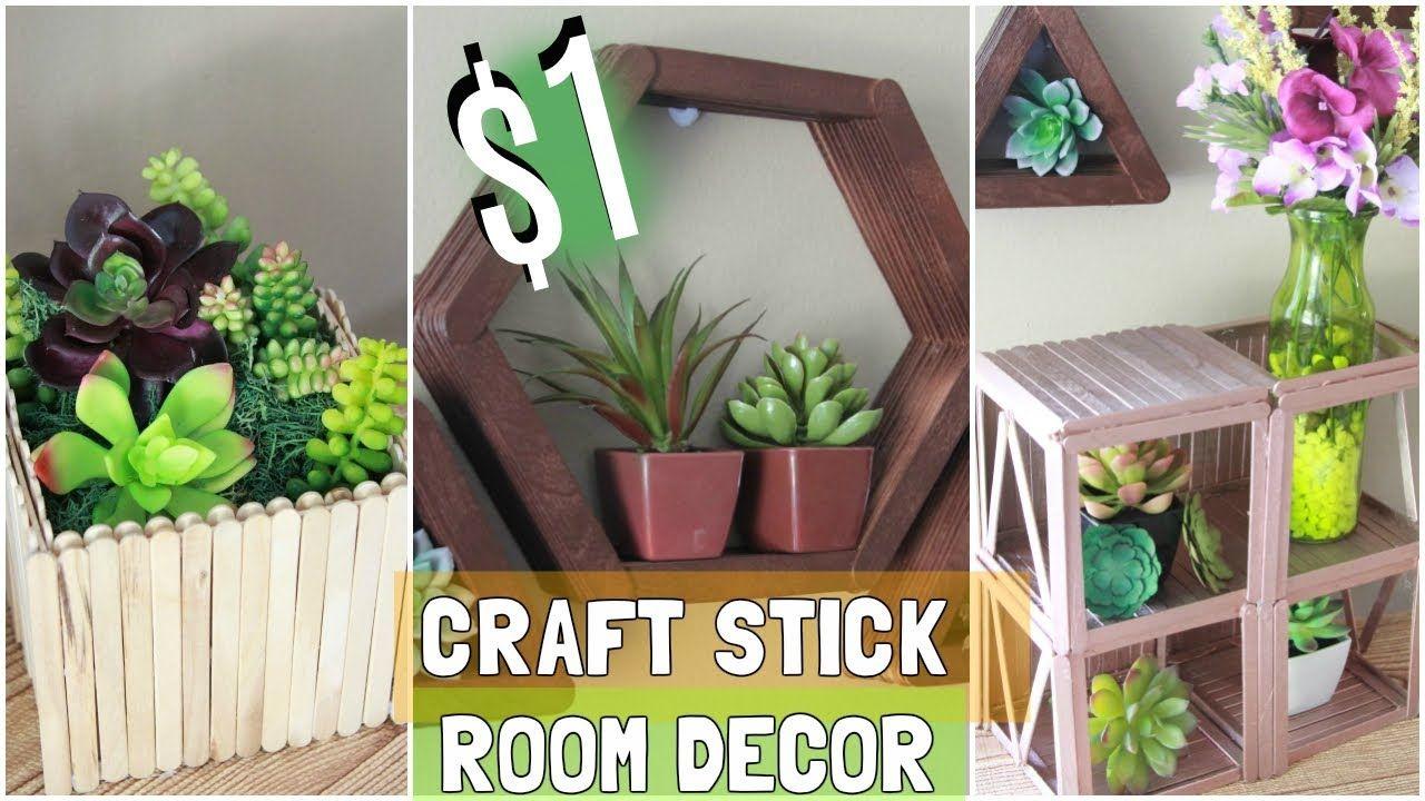 Dollar tree 1 craft stick room decor ideas diy