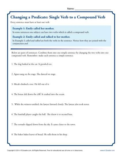 Changing A Predicate Single Verb To A Compound Verb Imperative Sentences Subject And Predicate Subject And Predicate Worksheets Complete and simple subjects worksheets