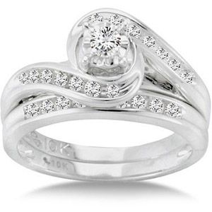 1/3 Carat T.W. Diamond Bypass Ring Bridal Set in 10kt White Gold. Love this set. $249 at Wal-Mart of all places
