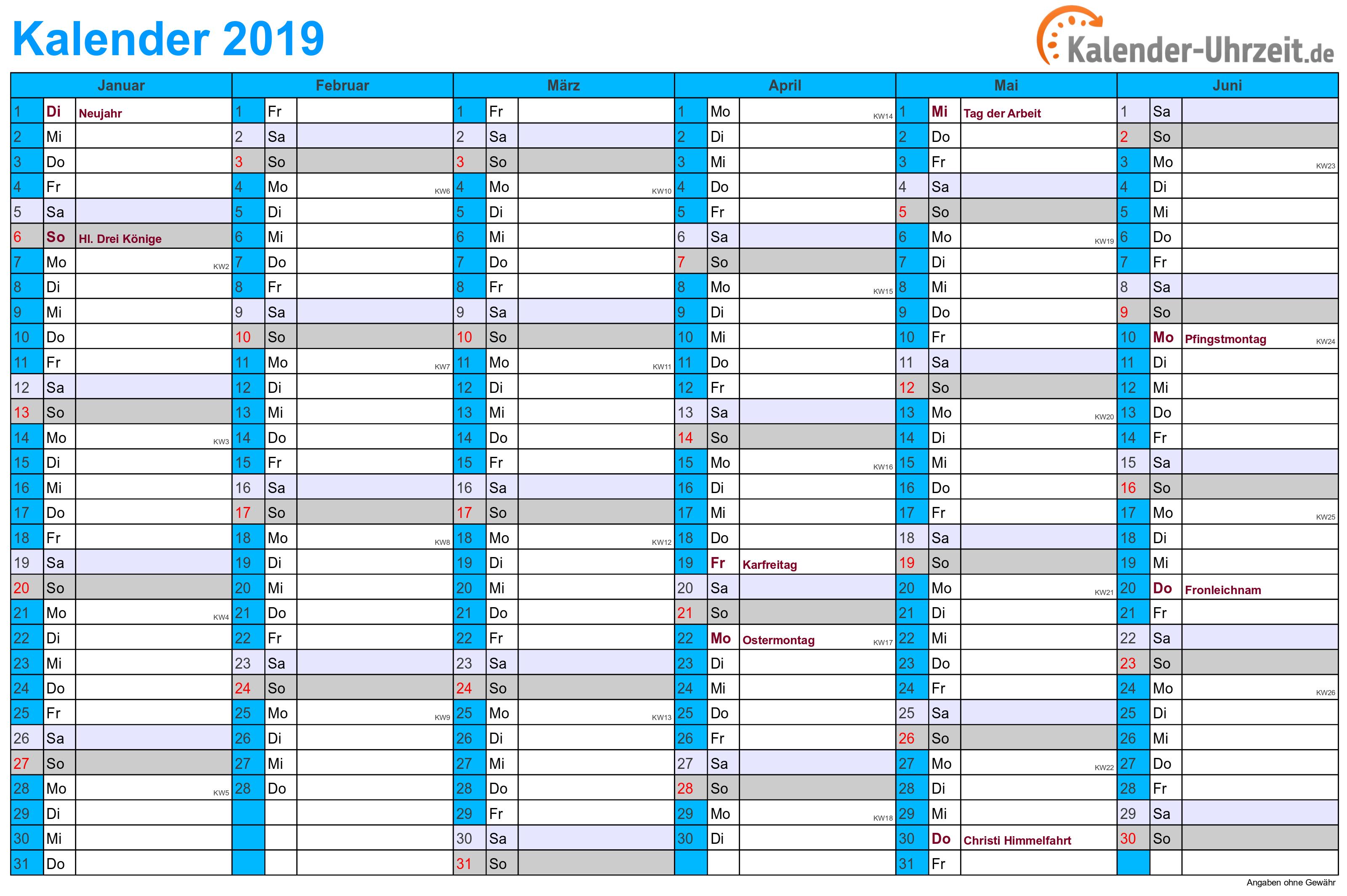 Kalender 2019 Zum Ausdrucken Gratis Vorlagen Zum Download