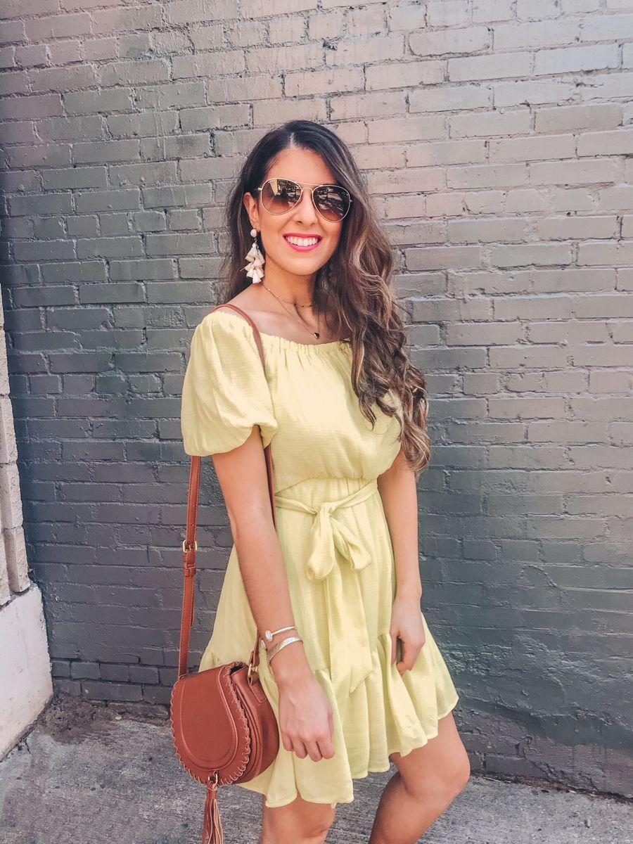 Yellow Off the Shoulder Dress 💛 @naomi.noel | LIKE