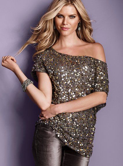 Sequin Blouse    Brightens up the night. Boatneck can also be worn off-the-shoulder. Imported polyester.  www.victoriassecr..., XL  $98  #280-011