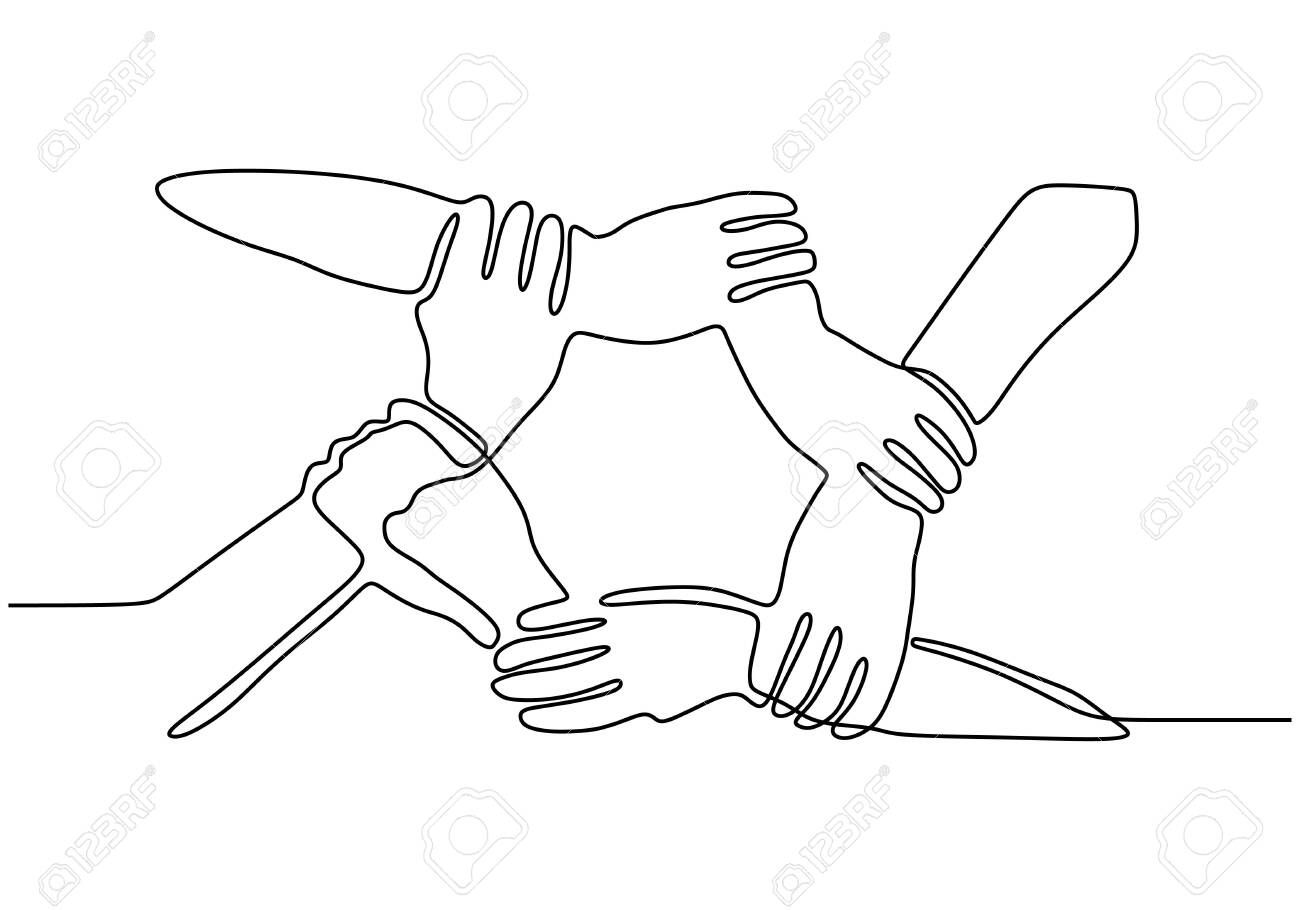 Continuous One Line Drawing Of Join Hands Puzzle Business Metaphor Of Teamwork Vector Illustration Unity Strengt In 2020 Vector Illustration Logo Design Line Drawing
