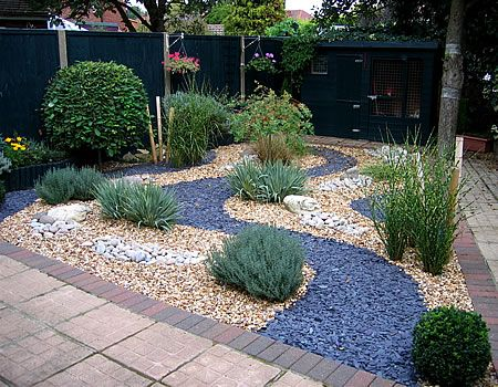 Slate gravel garden google search outside deco garden for Easy care landscape design