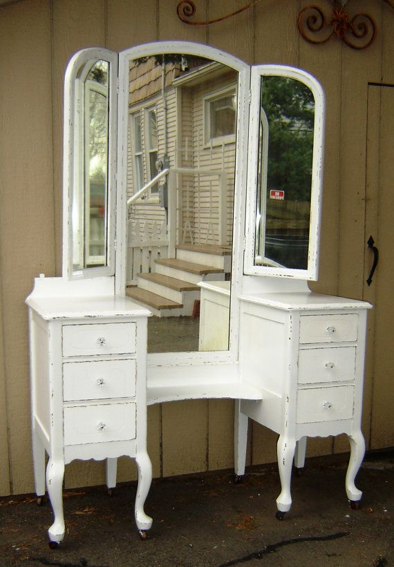 Beautiful Vintage White Shabby Chic Vanity by seasidefurnitureshop, $375.00 This is the EXACT vanity that B picked up for me right down to the wheels! Can't wait to refinish.