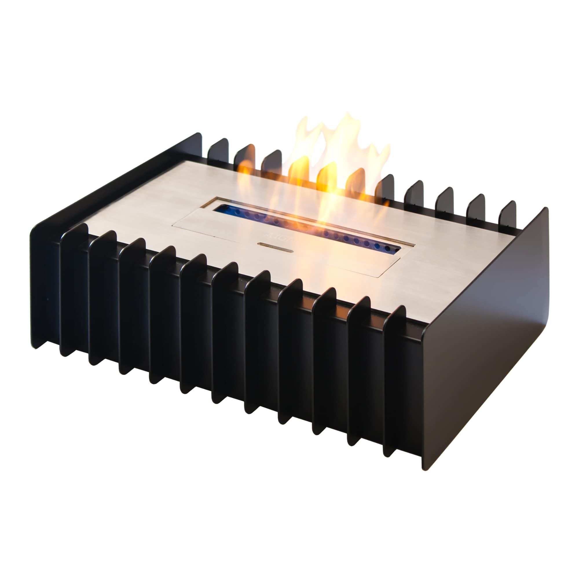 ignis ebg1400 ethanol fireplace grate black silver glass