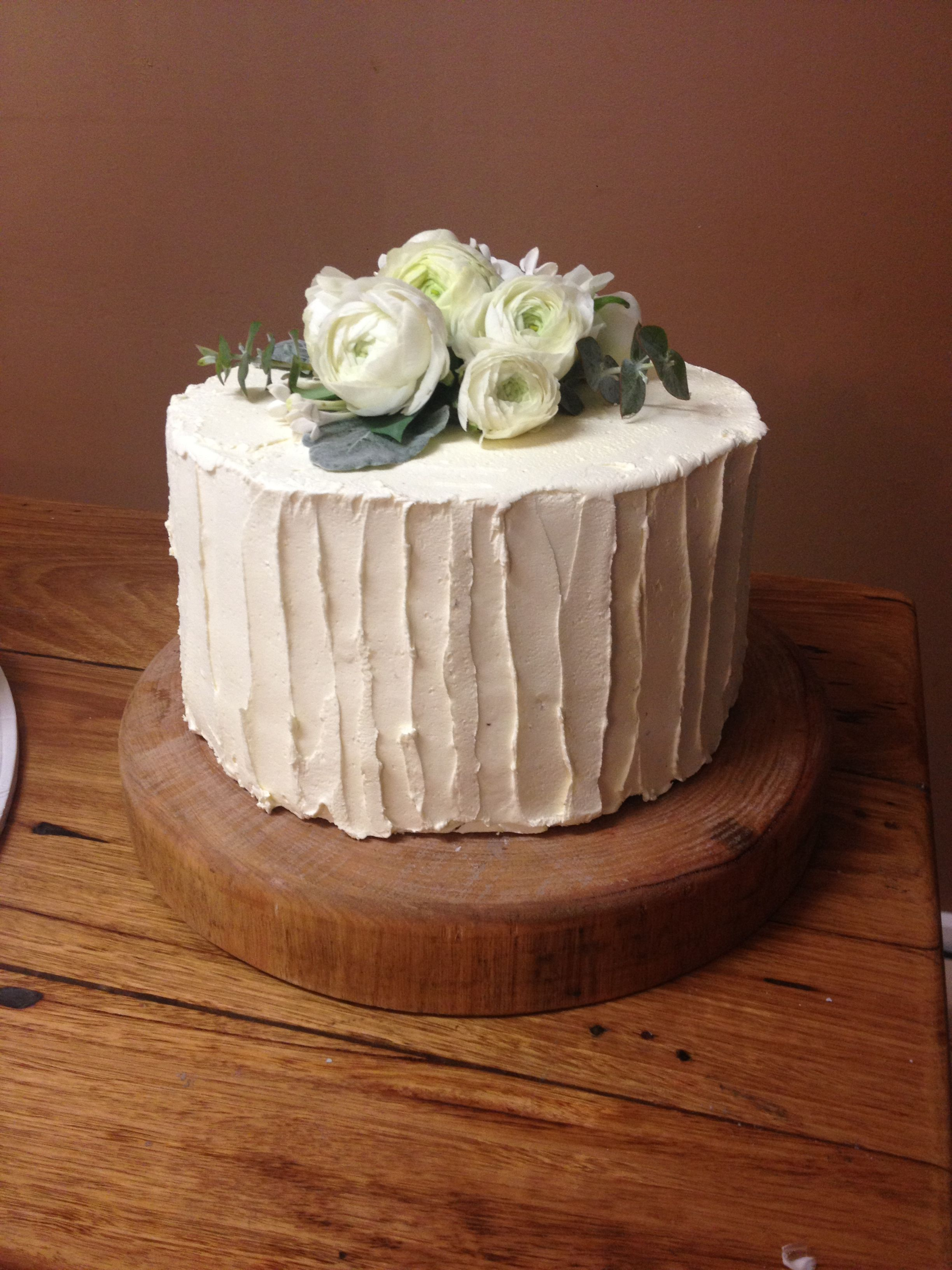 Rustic Red velvet double heights wedding cake frosted with