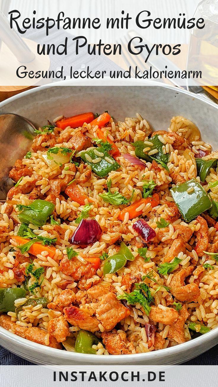 Mein einfaches Rezept für Gemüse-Reis-Pfanne mit Puten-Gyros ist super lecker …