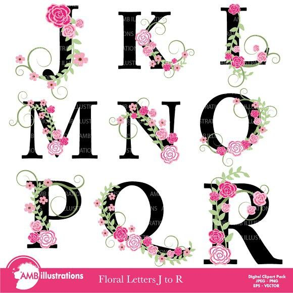 Floral Letter Clipart J To R Amb Wedding Fonts