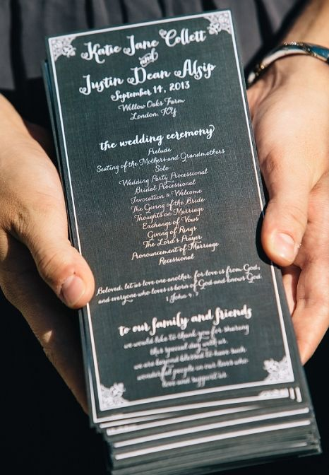 White Type And Border On Black Background For The One Page Wedding Program
