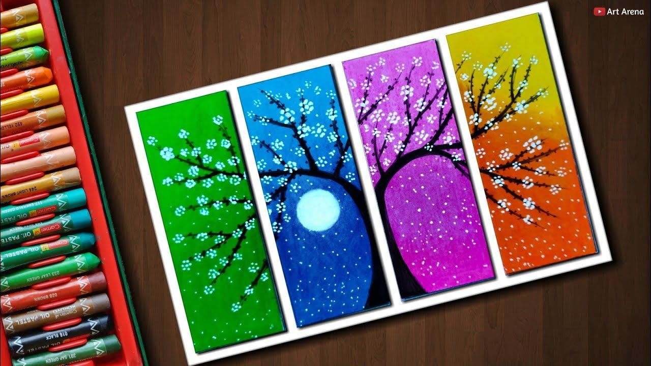Flower Tree drawing with Oil Pastels - step by step | Tree ...