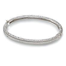 Penny Preville Thin Engraved Diamond Pavé White Hinged Bangle Bracelet BfvJXoso