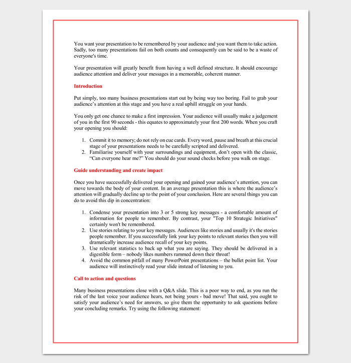 Sales Presentation Outline Template  Outline Templates  Create A