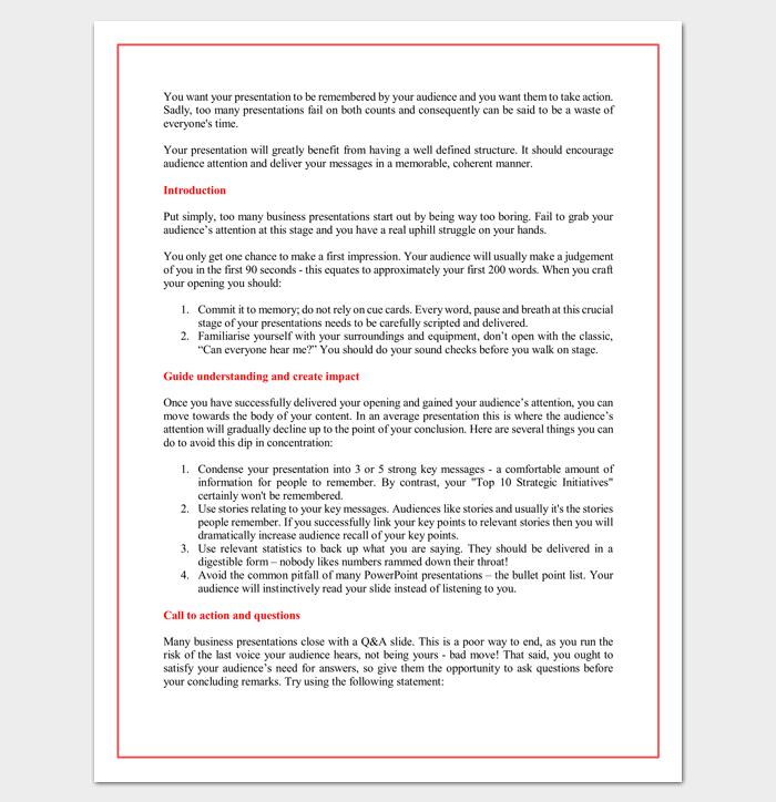 sales presentation outline template | outline templates - create a, Presentation templates