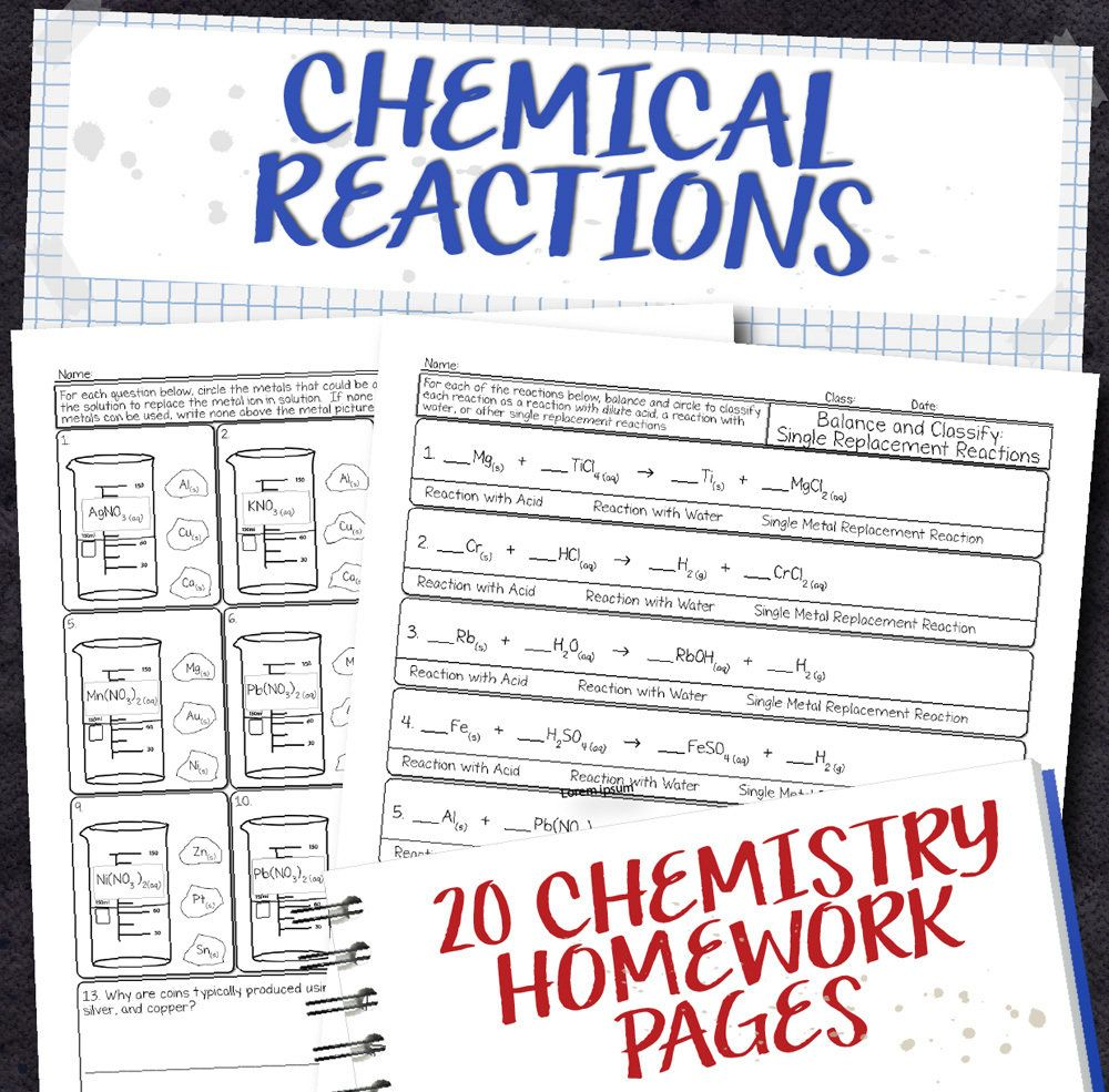 Chemistry Unit 8 Chemical Reactions Homework Pages Chemistry Worksheets High School Chemistry Chemistry
