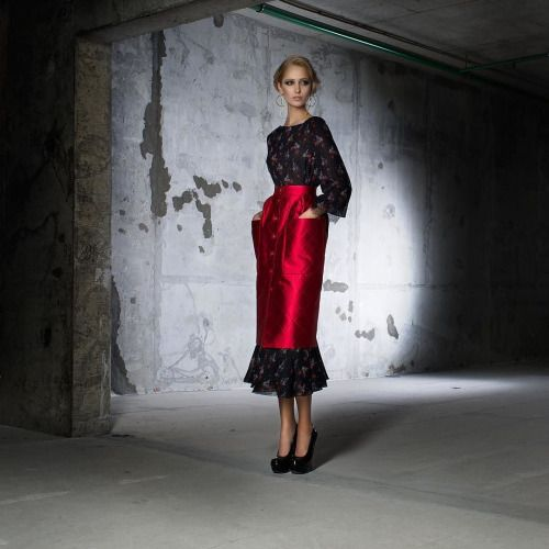 Red skirt from Ulyana Sergeenko collection is always a bright...
