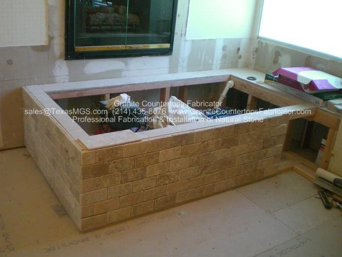 Drop-In Tub Surround Skirt 2x6 subway stone tile brick lay | Dream ...