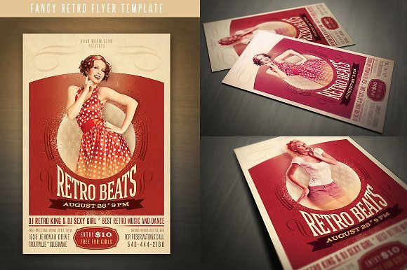 Fancy Retro Flyer Flyer template, Fancy and Text color - retro flyer templates
