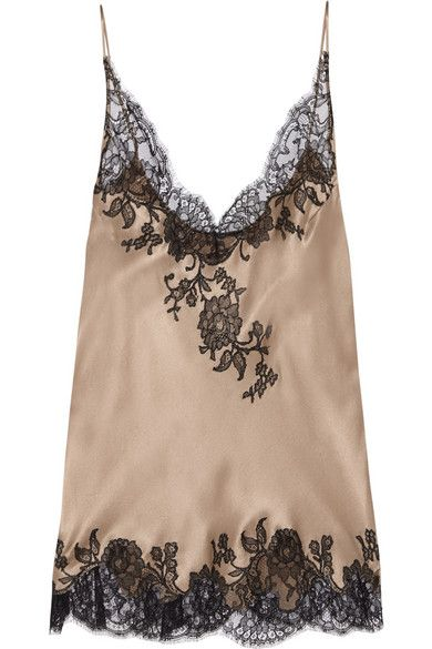 Carine Gilson Lace Trimmed Silk Satin Camisole