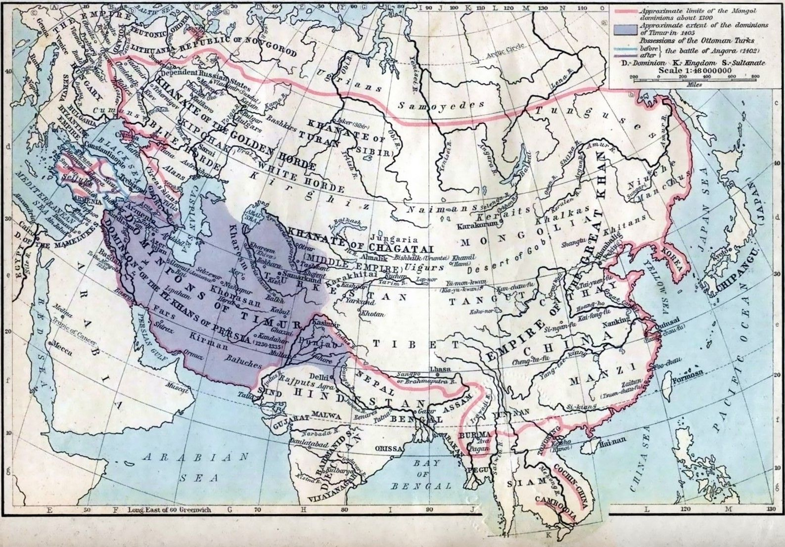 Map of the Mongol dominions in c