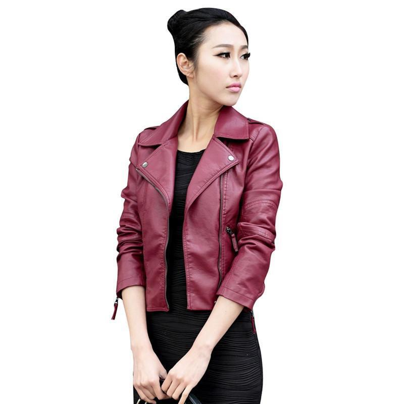 Trendy Women Ladies Zipper Jacket Slim Biker Motorcycle Short Coat Punk Outwear