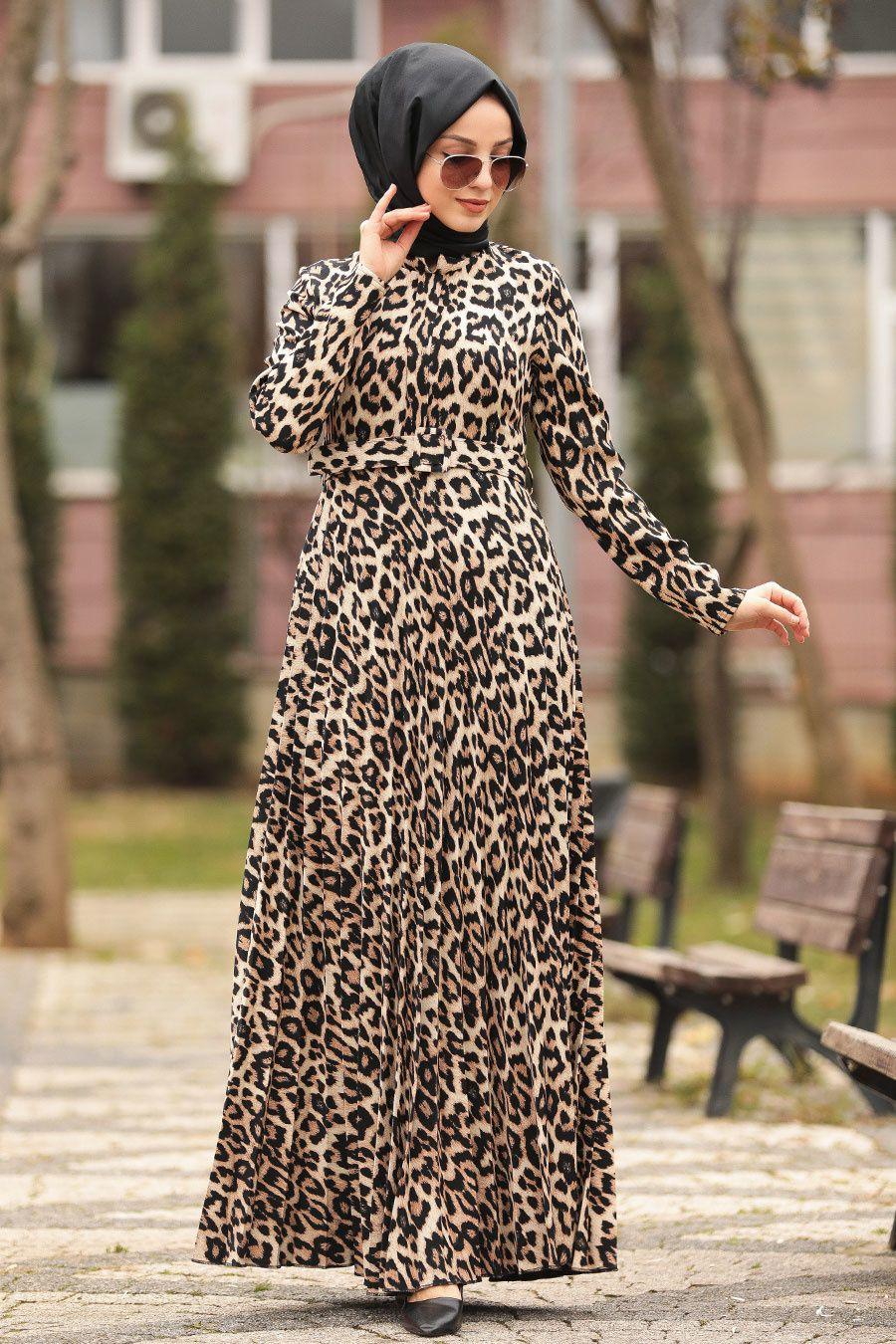 Neva Style Leopar Desenli Acik Leopar Tesettur Elbise 1453alp Tesetturisland Com 2020 Elbise Moda Stilleri Mankenler