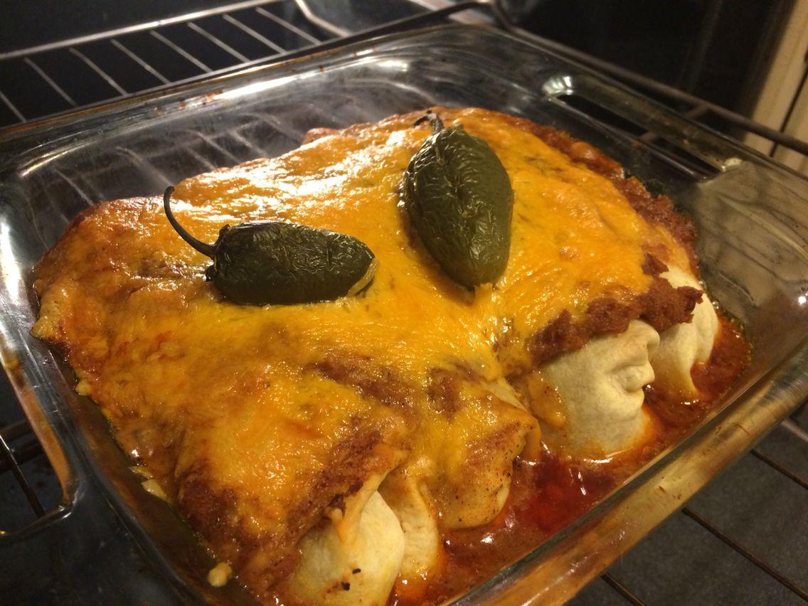 Baked chicken burrito