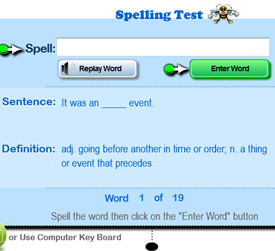 Free online spelling lessons, tests and printable spelling