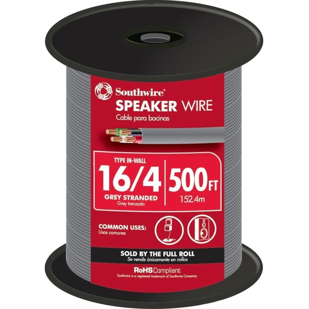 Southwire 25\' 16/4 Grey Stranded CU In-Wall CL3R Speaker Wire R13 4 ...