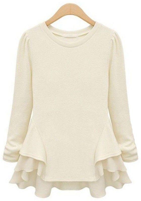 Beige Patchwork Chiffon Ruffles Long Sleeve Cotton T-Shirt