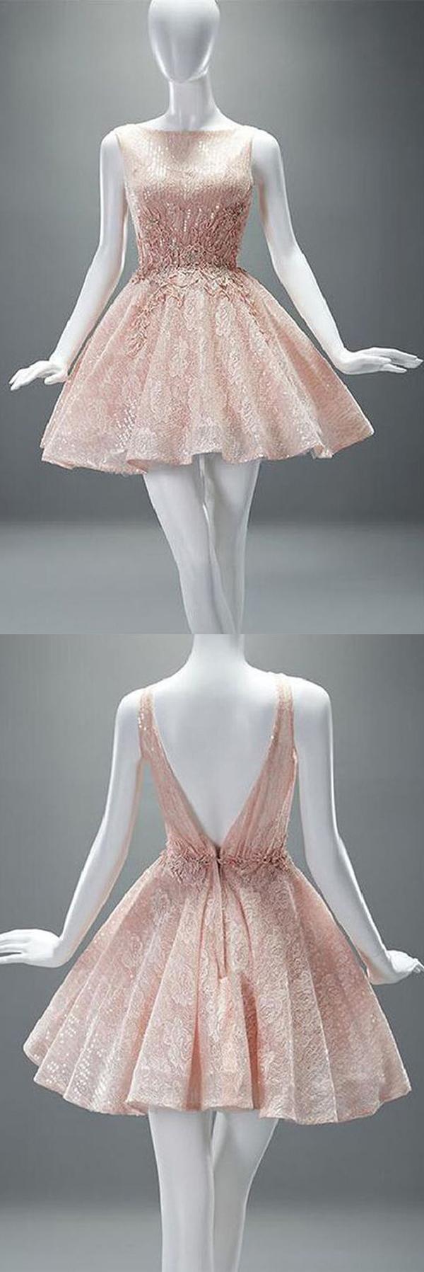 Pink boat homecoming dressessleeveless v back appliques puff short