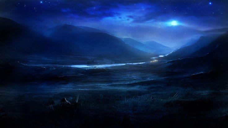 Blue Nature River Night The Moon Stars Hills Art Wallpaper Night Landscape Dreamy Landscapes Landscape Wallpaper