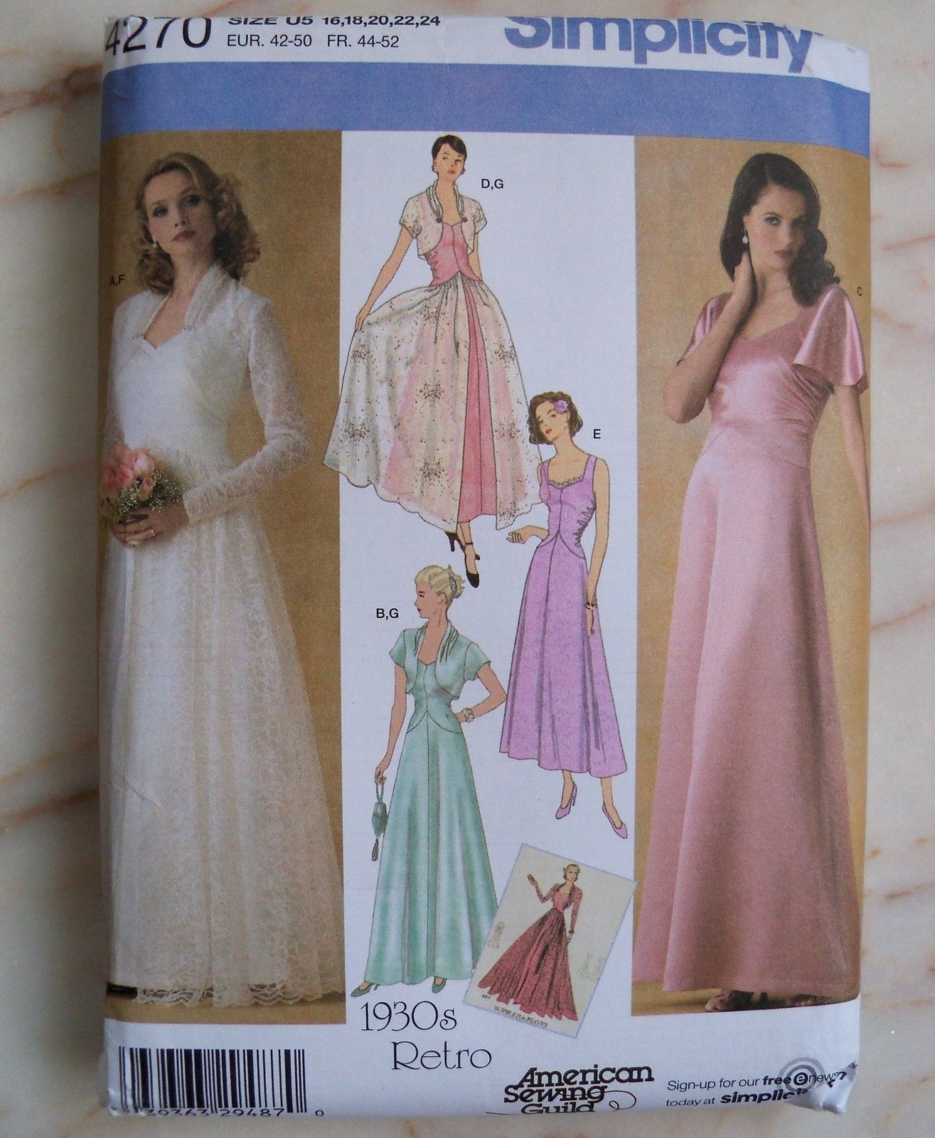 Vtg retro s bridal evening dress gown simplicity sewing