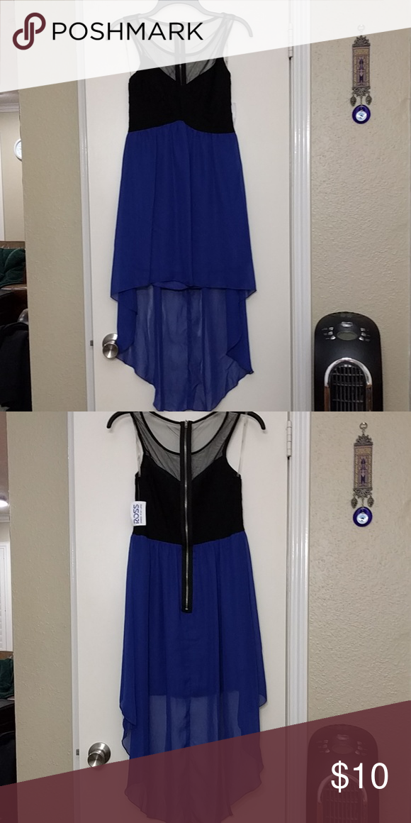 Black and blue hi-low dress Black and blue hi-low dress with shear top Dresses High Low